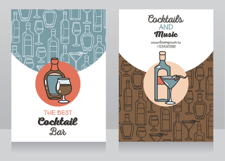 vermouth: two banners for cocktail bar, can be used as template for party invitation, vector illustration Illustration