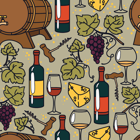 Seamless pattern for wine and winemaking, vector illustrations