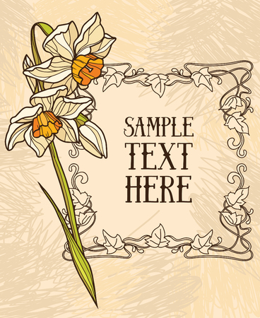 jonquil: Beautiful card in art deco retro style, floral frame, vector illustration