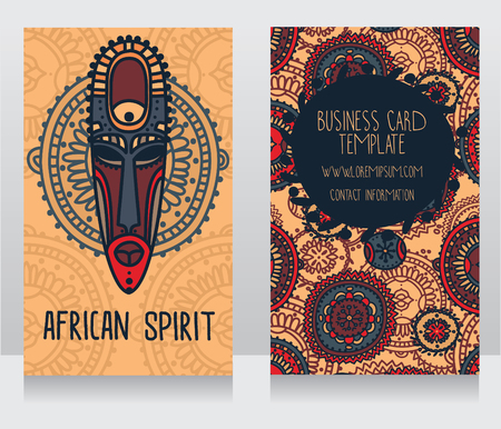 tiki head: two cards in ethnic african style, vector illustration