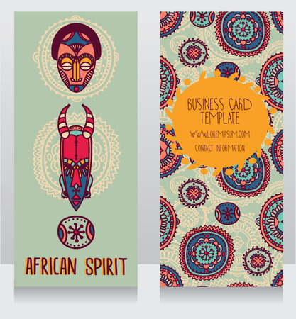 two cards in ethnic african style, vector illustration