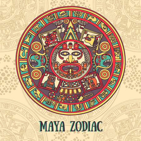 mayan prophecy: Maya traditional ornament Illustration