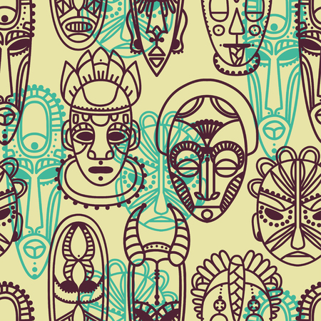 tiki head: Continuous pattern with tribal African masks illustration Illustration