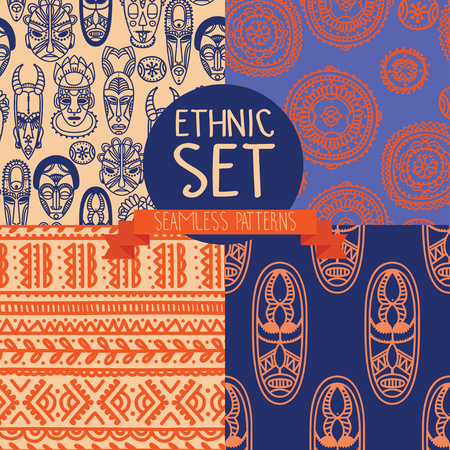 tiki head: Set of continuous patterns with tribal African masks illustration