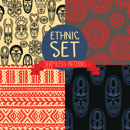 Set of continuous patterns with tribal African masks illustration.