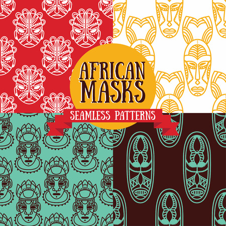 tiki head: Set of patterns with tribal African masks illustration.