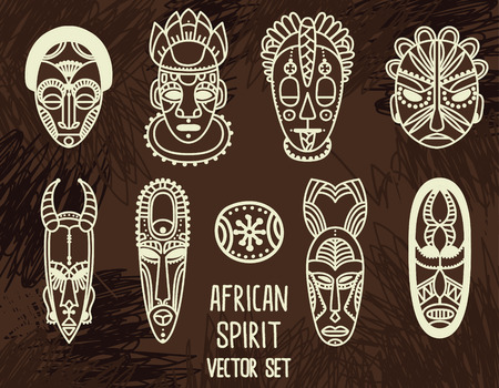 Set of traditional African masks illustration. Illustration