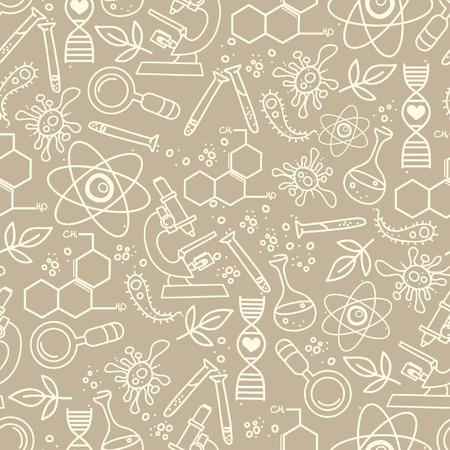 Modello continuo per la scienza disegnata in mano stile doodle.