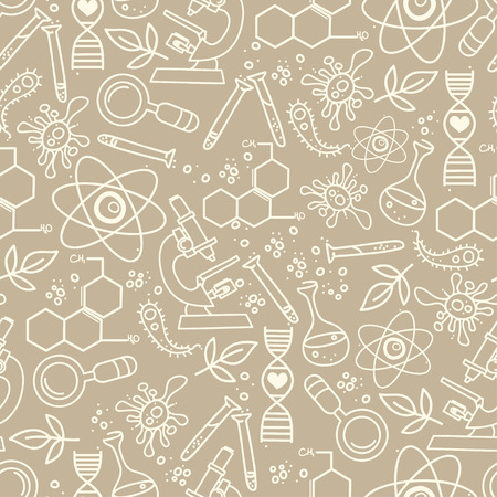 biologist: Continuous pattern for science in hand drawn doodle style.