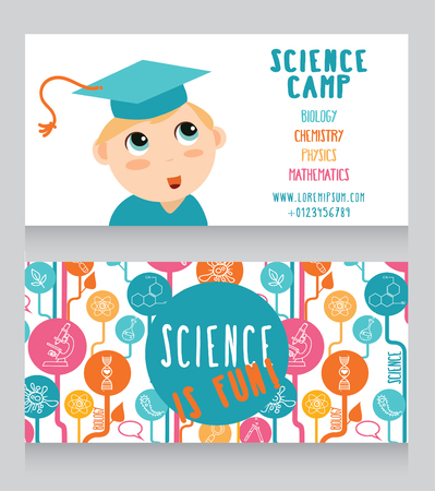 smart card: Cards for science camp, vector illustration Illustration