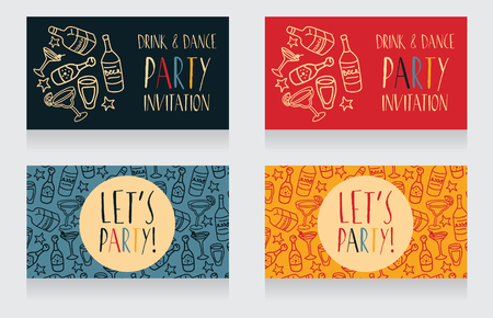 majority: Set of party invitation templates, can be used as birthday party invitation, vector illustration Illustration
