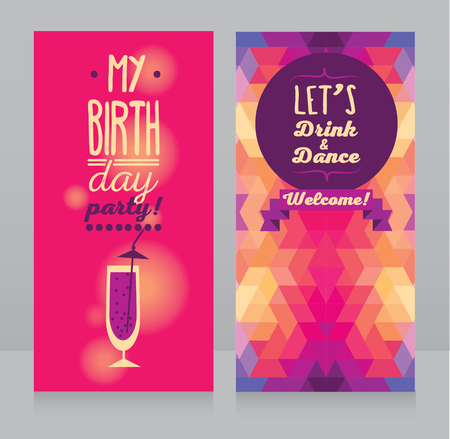 majority: invitation for birthday party, can be used as flyer for bar party, vector illustration