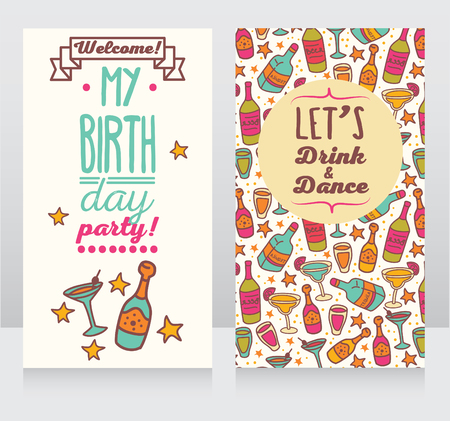majority: Cool design of ainvitation for birthday party, can be used as flyer for bar party, vector illustration