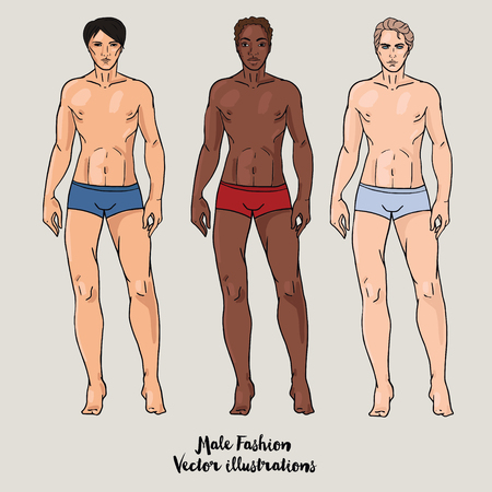 nationality: Full length portraits of three men, other nationality, vector illustration