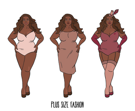 Beautiful African american woman with curves, plus size model in three looks, vector illustration