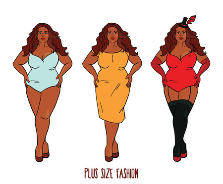 Beautiful African american woman with curves, plus size model in three looks, vector illustration Illustration