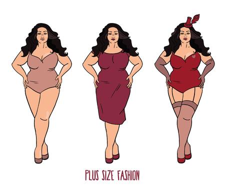 Hermosa mujer europea con curvas, más el modelo de tamaño en tres se ve en el fondo blanco, ilustración vectorial