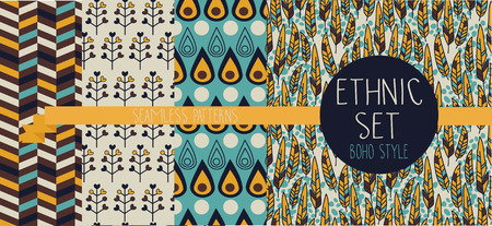 Set of abstract seamless patterns, ethnic decorative elements, boho palette, indian american style, vector illustration
