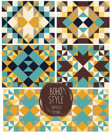 Set of abstract seamless patterns, kaleidoscope ornaments, boho palette, vector illustration