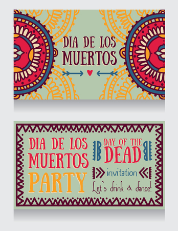 cute invitation cards for dia de los muertos, vector illustration Illustration