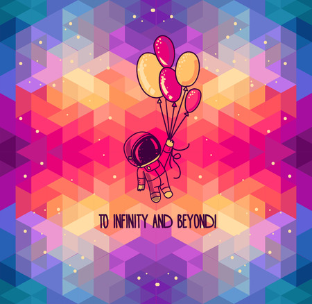 cute doodle astronaut with balloons on abstract artistic background, vector illustration Ilustrace