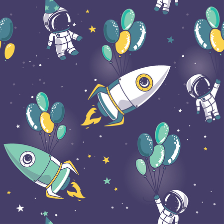 astronauts, rocket with balloons on seamless starry pattern, cosmic vector illustration