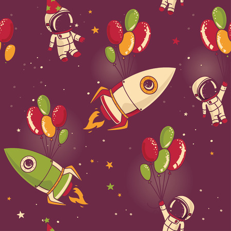 astronauts, rocket with balloons on seamless starry background, cosmic vector illustration