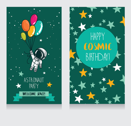 Cute rocket with balloons on starry background, funny invitation cards for boy's birthday party, cosmic vector illustration Ilustrace