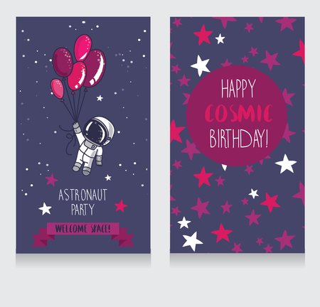 spaceflight: Cute rocket with balloons on starry background, funny invitation cards for boys birthday party, cosmic vector illustration