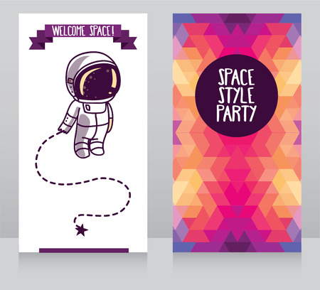 Cute astronaut with star, funny invitation cards for party, cosmic vector illustration