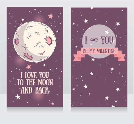 spaceflight: Banners for valentines day, full moon on starry sky, vector illustration