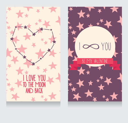 spaceflight: Starry cards for valentines day, vector illustration Illustration