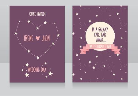 far away: Wedding invitations with stars and cute astronauts, in a galaxy far, far away ... wedding, vector illustration