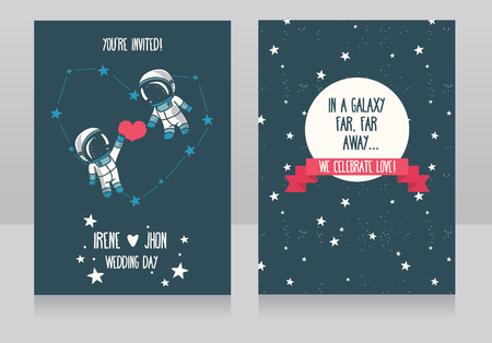 Wedding invitations with stars and cute astronauts,