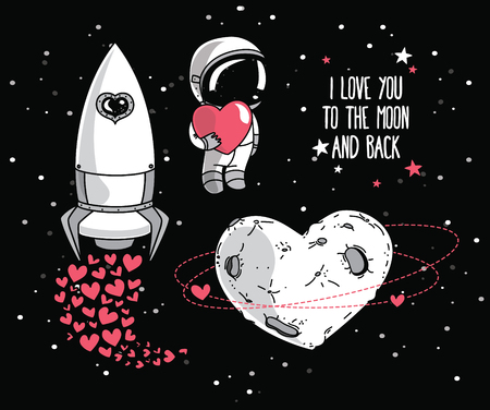 Cute hand drawn elements for valentines day design: moon, stars, astronauts floating in space and rocket, cosmic vector illustration