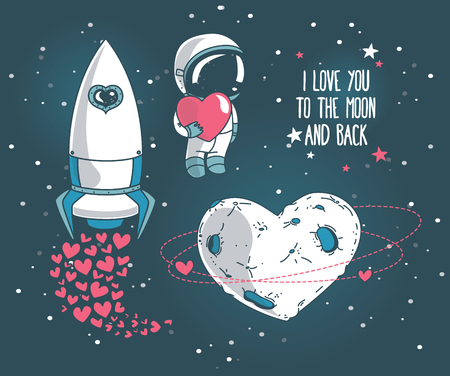 Cute hand drawn elements for valentine's day design: moon, stars, astronauts floating in space and rocket, cosmic vector illustration