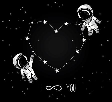 spacesuit: Cute doodle astronauts couple and heart formed constellation, cosmic card for valentines day, vector illustration