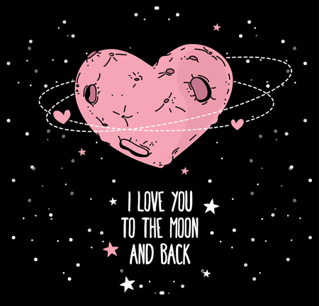 smart card: Cosmic card for valentines day, heart formed moon on starry sky, vector illustration Illustration