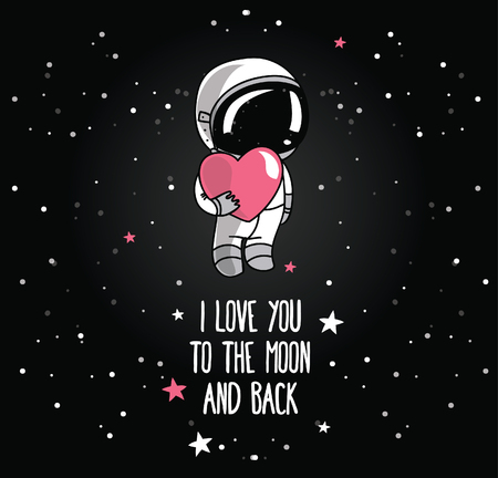 spaceflight: Cute doodle astronaut and heart, cosmic card for valentines day, vector illustration