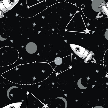 seamless background with cute doodle rockets and stars, vector illustration