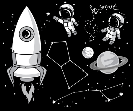 spaceflight: Cute hand drawn elements for cosmic design: planets, constellations, astronauts floating in space and rocket, vector illustration.