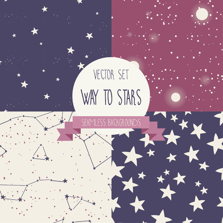 orion: Set of starry seamless backgrounds, vector illustration. Illustration