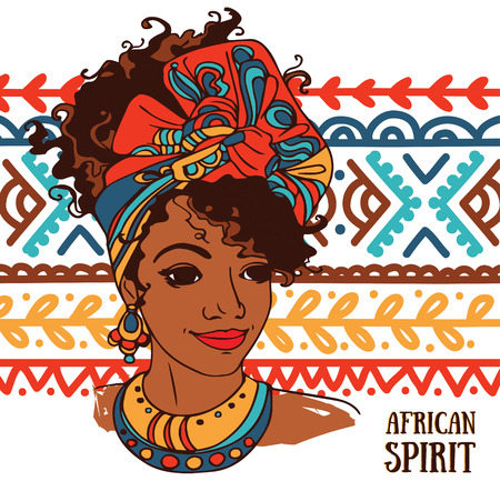 beautiful African American woman on beautiful ornament, vector illustration