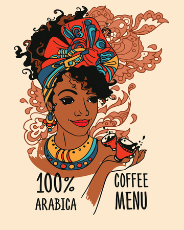 banner with beautiful african american woman and coffee cups, can be used as coffee menu, vector illustration Illustration