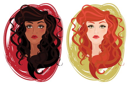 barbershop: Two vector portrait of beautiful different nations young girls with curly hair, vector illustration Illustration