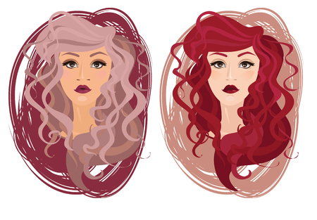 barbershop: Two vector portrait of beautiful young girls with curly hair, vector illustration