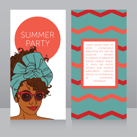 seventies: template for summer night party banners with beautiful african american girl, vector illustration