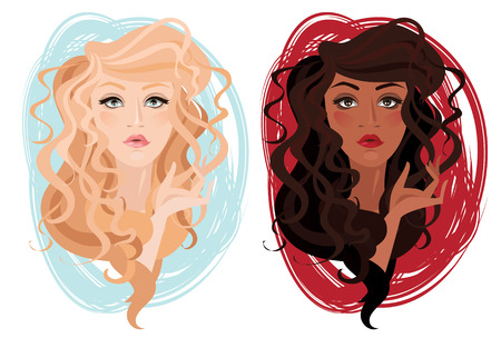 wig: Two vector portrait of beautiful different nations young girls with curly hair, vector illustration Illustration