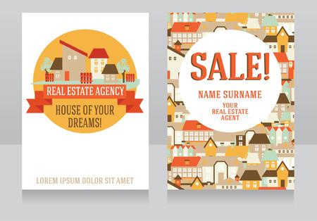 Template for real estate agency cards, sale flyer for real estae agent, vector illustration