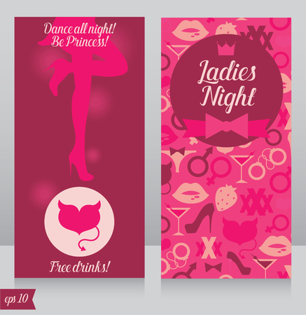 Template for ladies night party invitation, cards for night club with womans silhouette, vector illustration